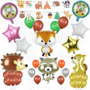 1set Large Animals Balloons Raccoon Hedgehog Foil Balloon for Jungle Theme Party Kid Birthday Air Balls Decoration Supplies
