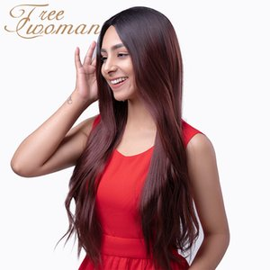 FREEWOMAN 24in Ombre Dark Red Straight Wig With Natural Hairline Middle Part Synthetic Wigs For Women Party False Hair Wigs