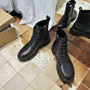 Internet Celebrity Short Boots Women's 2020 Autumn New Side Zipper Thick Bottom Round Head Eight Hole British Style Genuine Leather