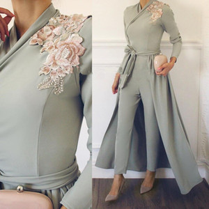 Modest Women Formal Jumpsuit Evening Dresses With Detachable Overskirt Appliques Lace Long Sleeves Muslim Prom Dress Evening Party Gowns