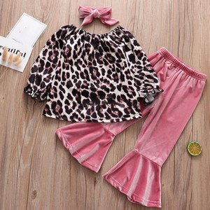 Baby Girls Clothing Sets Off Shoulder Leopard Long Sleeve Top + Flare Sunflower Plaid Trouser + Headband 3Pcs Set Fashion Kids Outfits