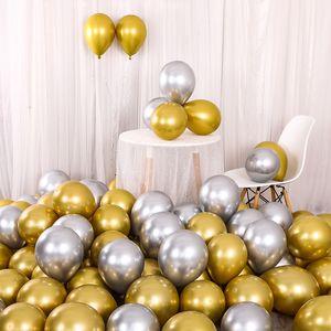 لوازم بالون الذهب 10PCS 12INCH الذهب والفضة لامع مطاط البالونات لؤلؤي معدني الألوان Globos الزفاف حفل عيد ميلاد بالون