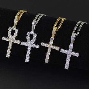 new 50pcs Women's men's jewelry prayer Necklace Egyptian Crystal Cross Necklace hip-hop Cross Necklace Pendant 4style T500222