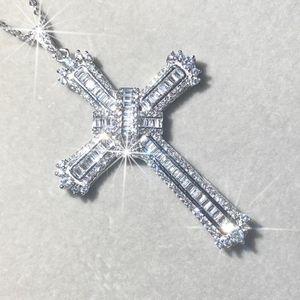 Original 925 Silber Exquisite Bibel Jesus Kreuz Anhänger Halskette Frauen Männer Luxus feinen Schmuck Kreuz Charm simulierter Diamant