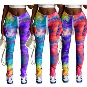 Галстук окрашенная Женщины Леггинсы Брюки Мода Упругие талии Тощий Длинные брюки Сплит Брюки Новая женская одежда