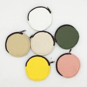 Diameter About 10cm Colorful blank Round canvas zipper pouches cotton cosmetic Bags makeup bags Cotton canvas coin purse