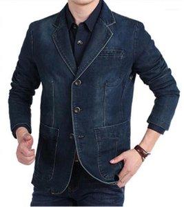 Para hombre de la manga del dril de las chaquetas con bolsillos V cuello delgado recto del Mens del diseñador Jean chaquetas largas
