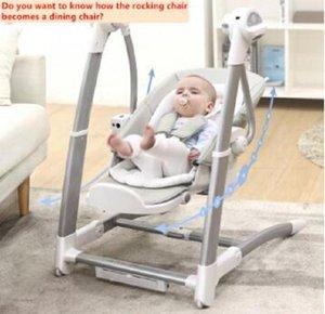 2020 Nueva multifuncional Niño silla de comedor 2 en 1 bebé oscilante del bebé silla de bebé artefacto eléctrico oscilante comedor infantil silla azul