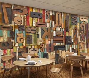 Papel pintado personalizado 3d foto mural Tablero de madera Vintage Woodcut Letters English Bar Restaurant Cafe Fondo Wallpaper Wallpaper