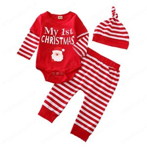 Infant Baby Striped Outfits My 1st Christmas Letter Printed Clothes 2 In 1 Snowman Baby Rompers Elastics Striped Pants With Hats