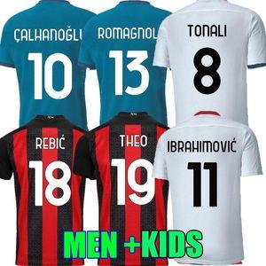 2021 Fussball Trikots 20 21 Ibrahimovic Brahim Tonali Bennacer Rebic LeagoN Romagnoli Football Jersey Hemden Männer Kinder Kit Uniformen