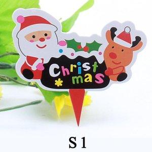 50 Pcs Merry Christmas Decor Banderas torta de cumpleaños de la bandera del hogar del regalo del muñeco de nieve de Santa niños de los niños
