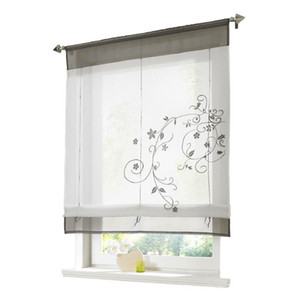 Blinds Kitchen Short Panel Roman Curtain Semi Transparent Home Decor Pastoral Office Rod Pocket Window Shade Floral Embroidery