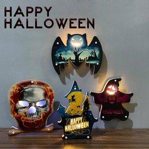 Ambiente de Halloween Calabaza decorativa Luz Castillo Bat Cráneo del fantasma de la pared decorativos Adornos Feliz Halloween decoración de la barra DHA1097