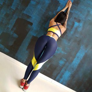 Frauen Sexy Yoga-Sets Tracksuits Schwarz Gelb Panelled Farbe Tanks + Pants Damenmode beiläufige dünne Outfits Hot Sale sweatsuits