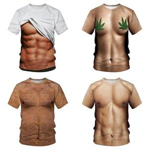 Engraçado 3D Muscle T Shirt Men Summer manga curta de Fitness T legal T-shirt Imprimir Falso Muscle Streetwear 3D 3D Abdominal Tops Masculino