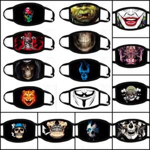 100pcs DHL 31styles Máscaras Halloween 3D Digital Crânio Impressão Dustproof pretective Máscara Máscara lavável dos desenhos animados do partido decorativa