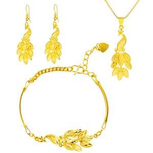 Sistemas de la joyería joyería de pavo real de la manera fijadas color oro Pendientes de novia de la boda de las mujeres pulseras collares