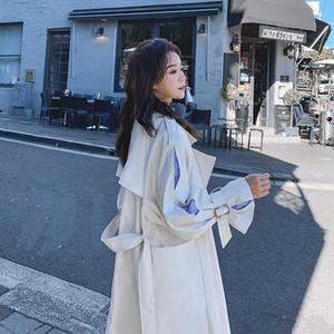 2020 Escudo señoras de la moda de otoño del resorte nueva trinchera casual de Corea del largo rompevientos mujeres Outwear Estudiante suelta Abrigo Tide G102