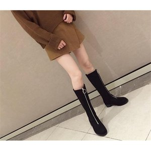 A+A&& New round head front zipper Martin boot for women free shipping shoes size 35-39 200916