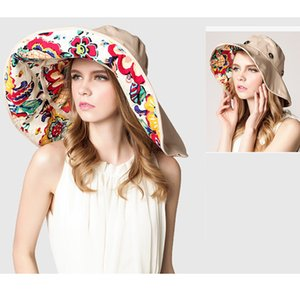 New Fashion Womens Cotton Sun Hat Big Floppy Wide Brim Caps Foldable Vacation Beach Holiday Ladies Wild Cap Chapeu Feminino