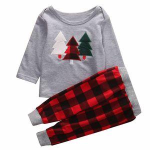 Toddler Kids Children Christmas Clothes Baby Boys Girls Christmas tree Printed Tops T Shirt Plaid Pants Outfits Xmas Set