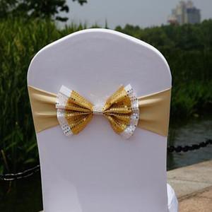 Silla partido del arco cubierta de la silla de los marcos de lentejuelas elástico Spandex Banda arco con hebilla para bodas Evento partido de los accesorios