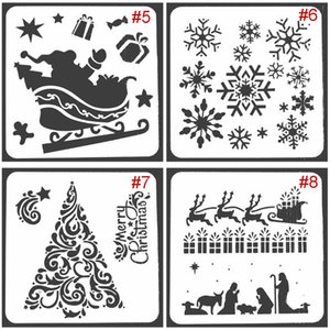 2020 Christmas Drawing Painting Stencils Scale Template Sets 8 Different Christmas Style Stencils for Painting on Wood Craft Cards Making