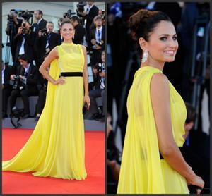 2020 Cheap Venice Film Festival Long Yellow Chiffon Party Celebrity Dresses Evening A Line Elegant Evening Dresses