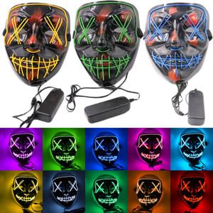 Halloween Horror Máscara LED acender partido Máscaras engraçado El fio The Ghost Com do ano da eleição Sangue Costume Party Grande Festival Máscara HH9-2415