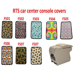 US Stock Sunflower Leopard Pattern Neoprene Car Armrest Cover Pad Universal Fit Soft Comfort Vehicle Center Console Armrest Cushion Holder