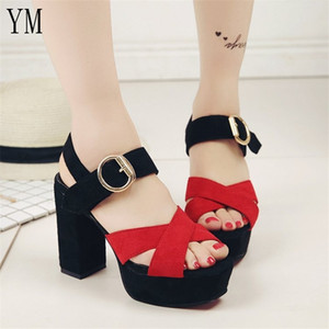 New Fashion Woman Ankle Strap Pumps High Heel Thick Bottom 10CM Peep toe Platform Sandals T-tied Bullet Gladiator Party Shoes Y200620
