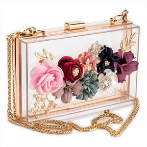 NEW Women PVC fabric Flower Clutches Crossbody Floral Purse With Gold Pearls Beaded Evening Bags For Wedding Prom Banqu