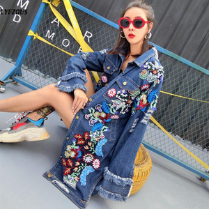 Floral Embroidery Denim Jacket Coats Women Spring Autumn Long Ripped Beading Tassel Jeans Jackets 2019 woman new street coats