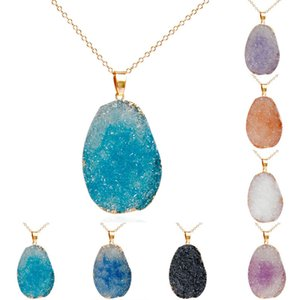 Fashion Natural Stone Pendant Necklaces Crystal Quartz Healing Chakra Bead Gemstone Gold Link Chain Necklace for Women Bohemia Jewelry Gifts