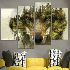 4 Piece Modern Canvas Painting Wall Art Picture Home Decoration Wolf Forest Water Animal Print On Canvas Artwork Wall Decor