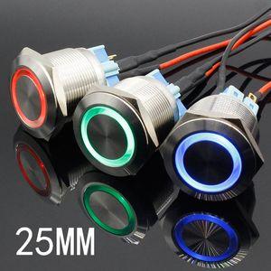25 mm 6V 12V 24V 220V azul Anillo Led de luz momentáneo / Bloqueo de interruptor de botón interruptor DPST Industrial Metal Coche Barco de bricolaje