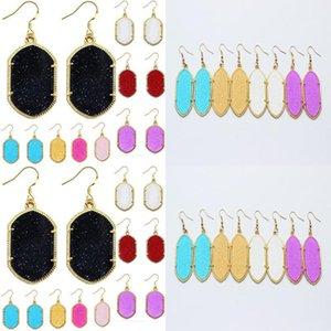 Gold Acrylic Stone Chandelier Glittery Earrings Earrings Dangles Women Druzy Geometric Plated Fashion For beauty888 zUnhX
