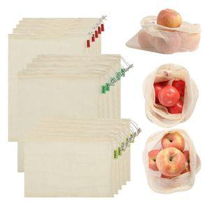 3pcs / set reutilizável malha produzir sacos algodão orgânico vegetais Fruit Shopping Bag Home Kitchen frescos Bags Bolsa de armazenamento cordão Bag HHA1580
