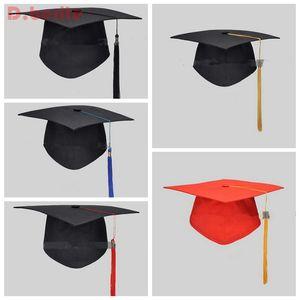 New Black Mortar Board Adults Academic Tassels Bachelors Master Graduation Costume University Hat Cap For School Student QDD9391