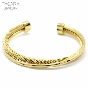 FYSARA cavo ritorto filo dei braccialetti del polsino braccialetto per gli uomini donne dell'acciaio inossidabile degli accessori di colore dell'oro di polso Pulseiras all'ingrosso