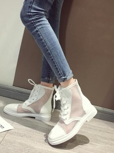 Short Boots Sandals Female Ins Tide 2020 New Net Boots Wild Rome Summer Sandals Breathable Thick With Hollow Shoes