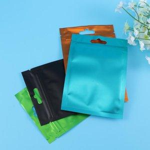 100pcs Resealable Matte Aluminum Foil Pouch Bag Flat Zipper Zealed Bag Party Favor Packing Storage (Black+Orange+Gr