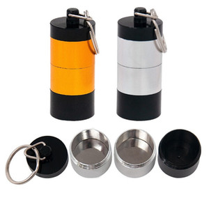 Portable Dab Wax Tobacco Container 4 Layers Box Metal Pill Cases Jars Storage Holder for Dry Herb Herbal Vaporizer Keychain