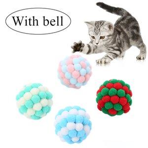 1 PC Pet Shop Cat auto-excitado Ball engraçado Cat Plush Sino Multicolor costura colorida Natal Jogando Brinquedos