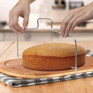 Оптовая Кухня DIY выпечки аксессуары двойная линия торт Slicer Главная DIY торт Выпрямитель Cutting Line Регулируемые торты Slicer DHB1514