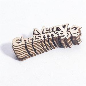10pcs joyeux noël tranche de bois joyeux christmas suspendu ornements artisanat morceaux de bois artisanat xmas maison décoration hwb2007