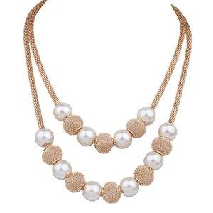 Горячая Имитация Pearl Болл ожерелье женщины Lady Girl моды Golden Layers свитера цепи подарок Заявления