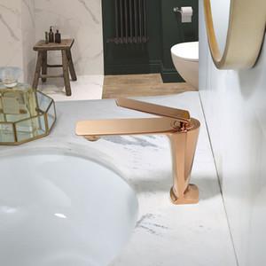 Banyo Musluk Rose Gold Havzası Musluk Soğuk Ve Sıcak Su Karıştırıcı Lavabo Musluk Tek Kolu Güverte Fırçalı Altın Tap Monteli