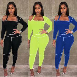Womens 2 Zwei Stück Kleidung Sexy Trainingsanzüge Eine Schulter Langarm Top Leggings Hosen Outfits Set Sportswear Anzug Plus Größe Kleidung